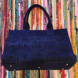 Handbags - Blue suede tote bag